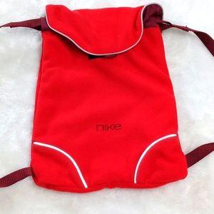 Nike red small mini fleece velcro close back pack